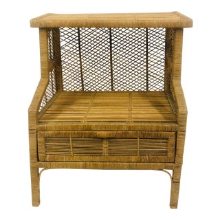 Mid Century Wicker Side Table With Bottom Storage Area For Sale