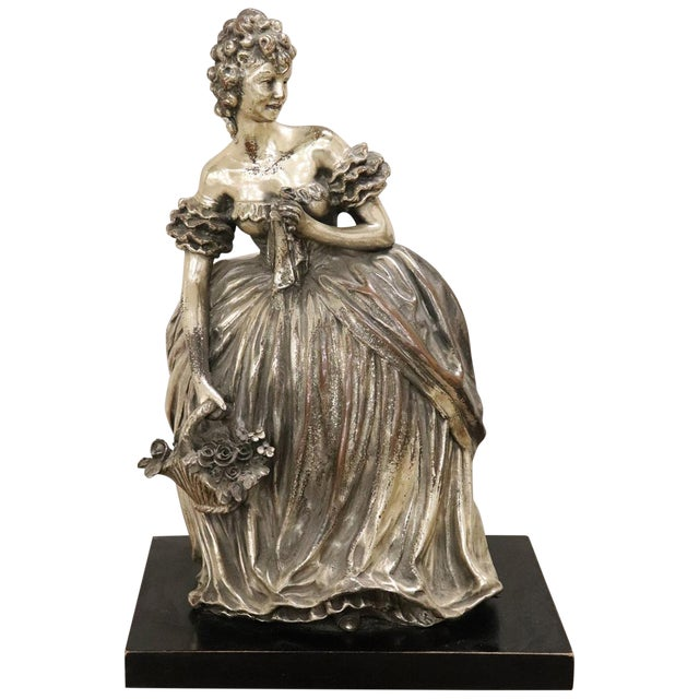 20th Century Italian Sculpture in Silvered Clay Figure of a Lady by B Tornati For Sale