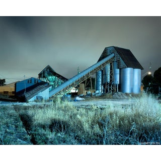 "Contemporary Night Photograph ""Conveyor and Silos"" by John Vias For Sale"