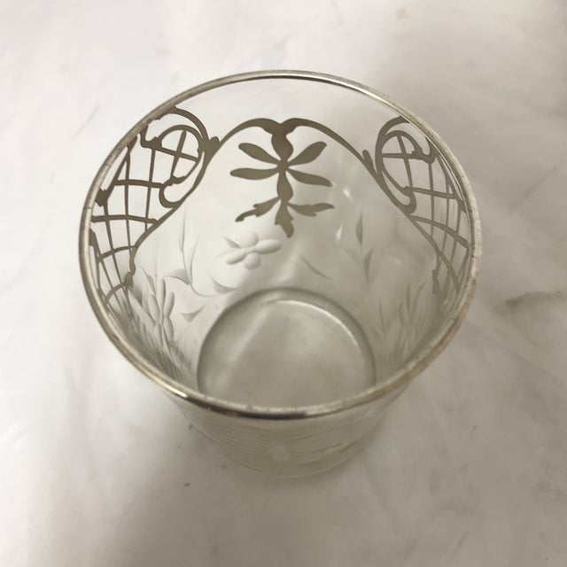 Etched Silver Sterling Overlay Glass Pitcher & Glasses Set For Sale In Miami - Image 6 of 7
