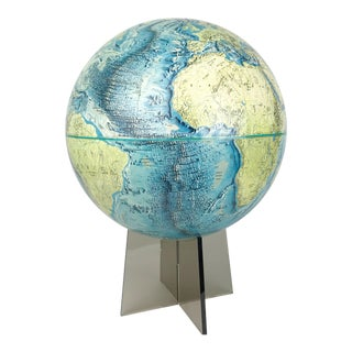 1970s National Geographic Physical Globe on Smoky Gray Clear Lucite Stand For Sale