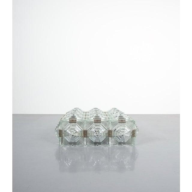 Glass 1 of 7 Kamenicky Senov Bohemian Glass Flush Mount Ceiling Lamp, Czechia For Sale - Image 7 of 13