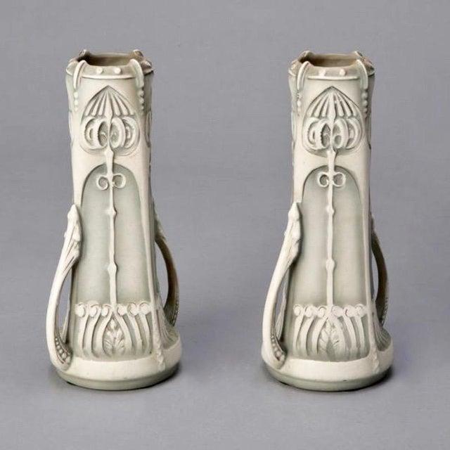 Pair Art Nouveau Pale Green & Cream Ceramic Vases - Image 3 of 5