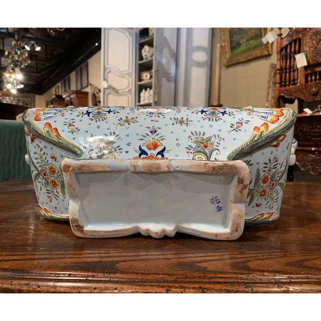 Early 20th Century French Hand Painted Faience Jardinière From Normandy For Sale In Dallas - Image 6 of 8
