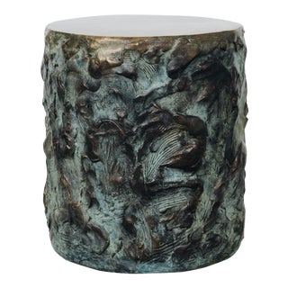 Hand Made Drum Side Table of Sculpted Bronze, by Samuel Amoia For Sale