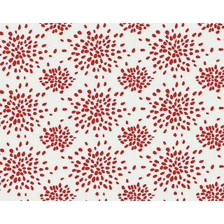 Hinson for the House of Scalamandre Fireworks Wallpaper in Red on White For Sale