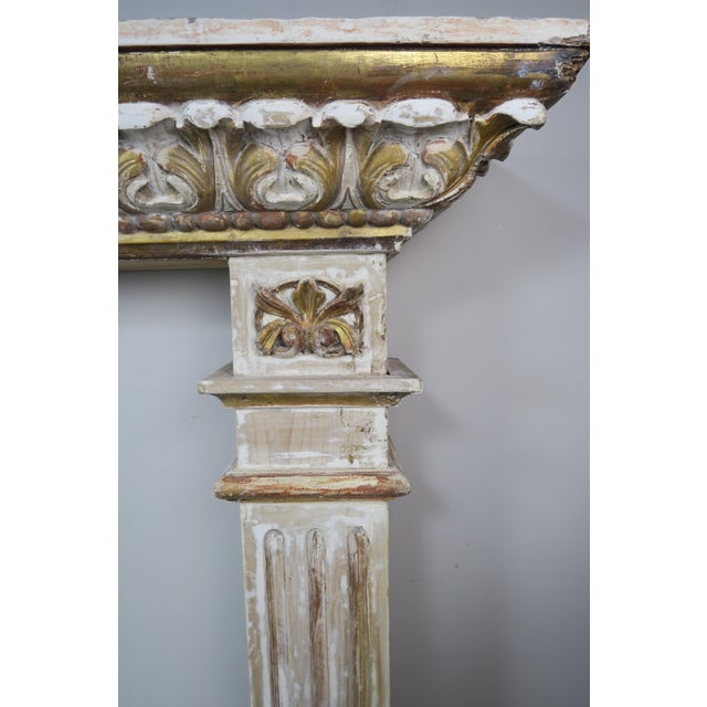 19th Century Italian Painted and Parcel Gilt Fireplace Mantel For Sale - Image 10 of 13