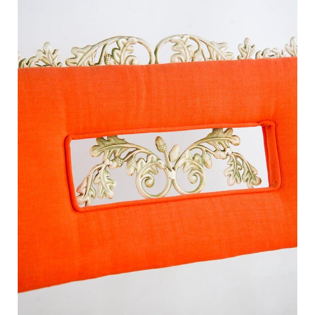 Hollywood Regency Orange and White Iron Benches - a Pair For Sale - Image 4 of 13