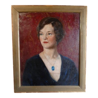 Pietro Pezzati Oil Painting on Board, Young Woman Wearing a Blue Locket For Sale
