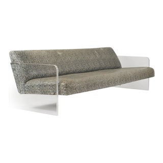 American Mid-Century Lucite and Faux Python Settee For Sale