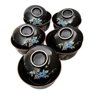 Chakaiseki Japanese Lidded Soup Rice Bowls - Set of 10 Pieces For Sale