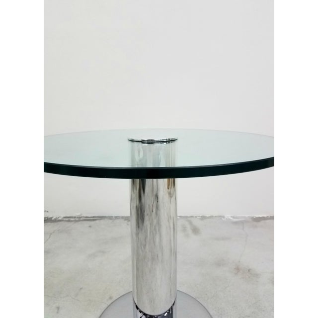 1970s Vintage Round Chrome and Glass Center Table For Sale - Image 5 of 7