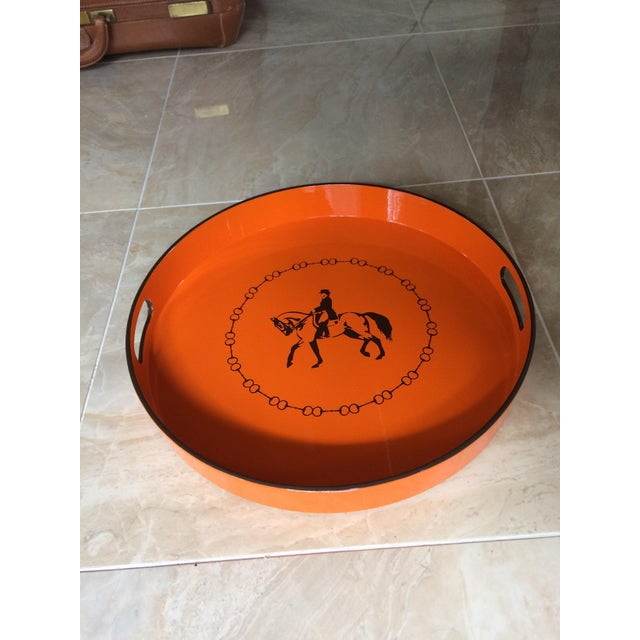 Metal Hermes-Inspired Orange Equestrian Serving Tray For Sale - Image 7 of 10