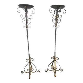 Tall Gothic Free Standing Candle Sticks - A Pair