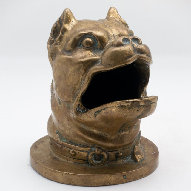 19th century bronze head of barking bulldog with collar sculpture. This was probably part of a game and the piece would...