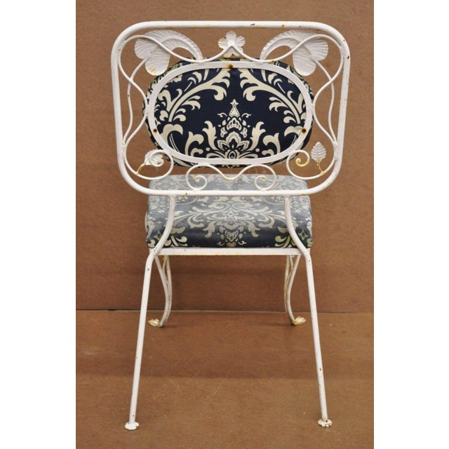 White Vintage French Art Nouveau Wrought Iron Floral Dining Chairs - Set of 4 For Sale - Image 8 of 13