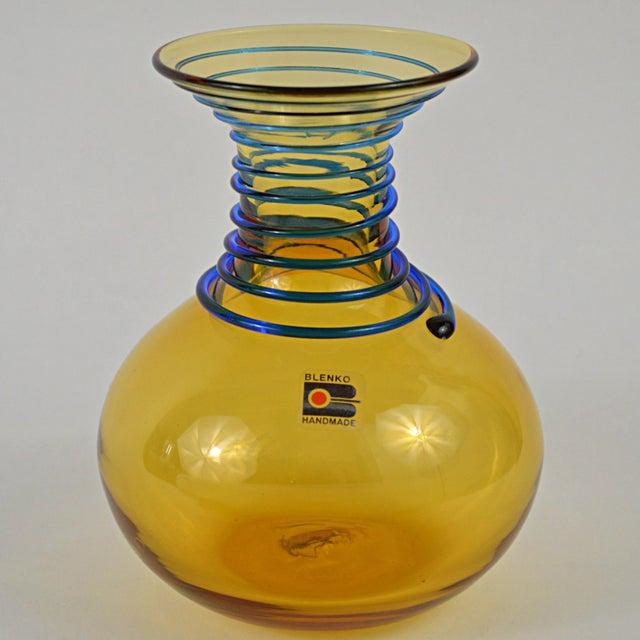 Mid-Century Modern Vintage Blenko Amber Blue Spiral Vase For Sale - Image 3 of 7