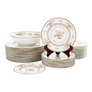 """Vintage Mikasa Bone China in """"Chippendale"""" Pattern, Set of 32 For Sale"""
