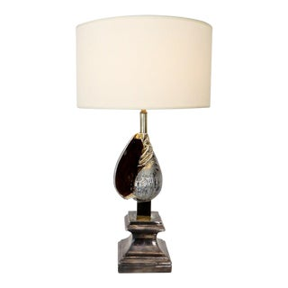 French Table Lamp Silver and Gold Glazed Ceramic Seashell Classical Pediment For Sale