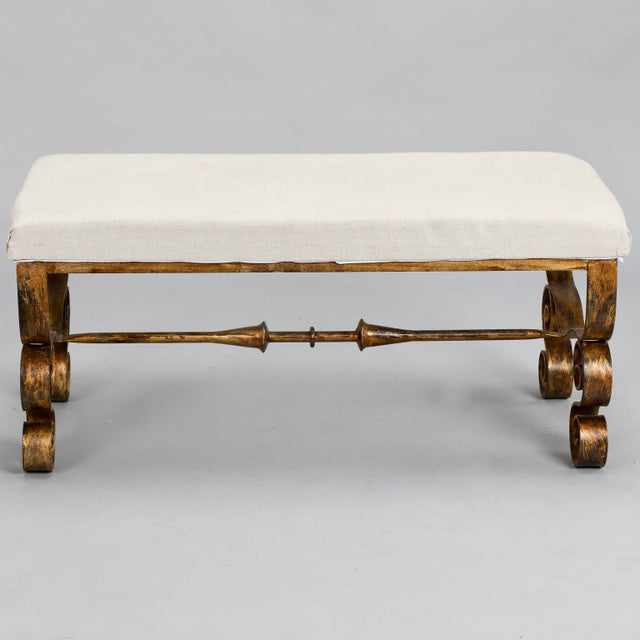 Upholstered Bench with Scrolled Gilt Metal Legs - Image 8 of 8