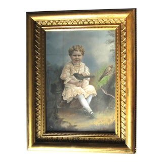 "Antique Victorian Edwardian ""Little Girl W Birds"" Pastel Portrait Painting in Gothic Frame For Sale"