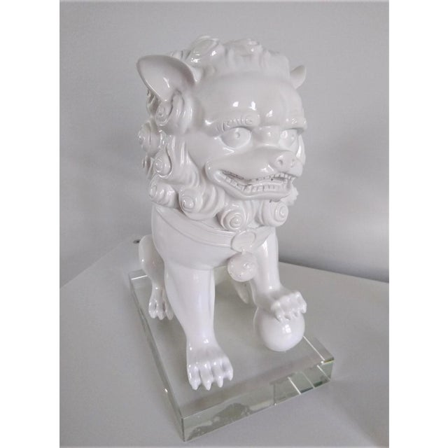 Ceramic Vintage Foo Dogs on Lucite Bases - Pair For Sale - Image 9 of 13