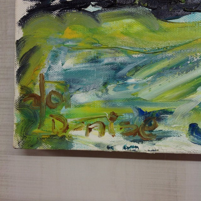 Green & Blue Modern Abstract Impasto Painting - Image 3 of 3