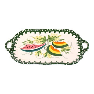 1980s Vintage Hand-Painted Tropical Italian Zanolli Majolica Fruit Platter For Sale