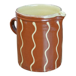 French Terra Cotta Pitcher With Wavy Stripes