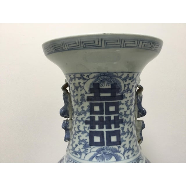 """19th century Chinese blue & white vase 24"""" high. The blue is painted in a beautiful classic pattern. Not a modern-day..."""