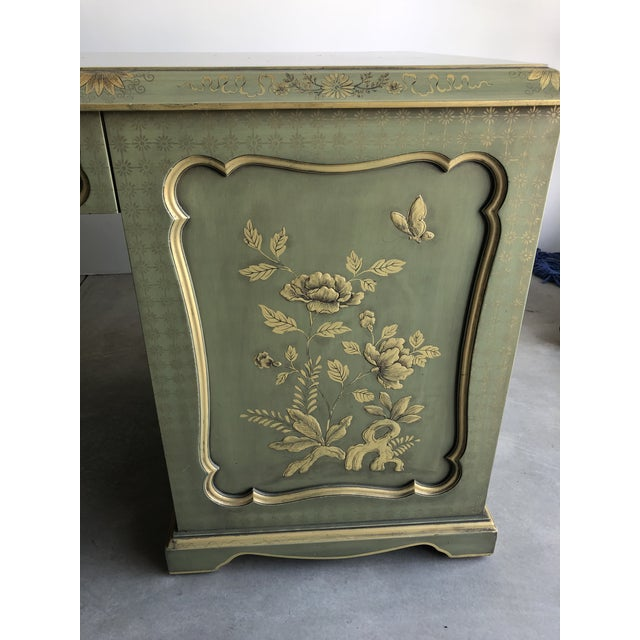 Green Chinoiserie Green Wooden Partner Desk For Sale - Image 8 of 13