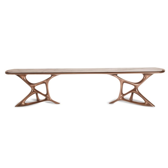 Amorph Custom Anika Console Table, Bronze Finish With White Marble Stone For Sale - Image 10 of 10