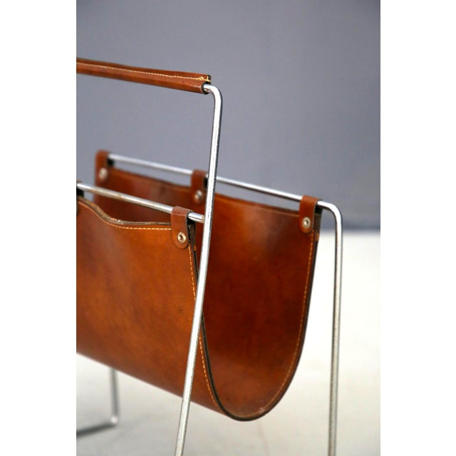 Carl Auböck II MidCentury Magazine Holder in Leather and Steel, 1950's For Sale - Image 10 of 11