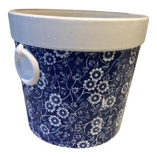 Blue & White Chintz Jardiniere For Sale