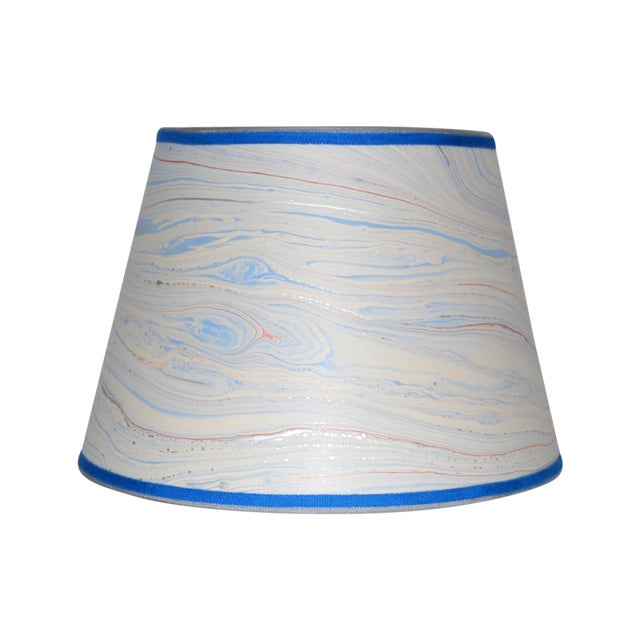Blue Marble & Silver Lampshade - Image 1 of 4