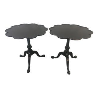 Vintage English Candlestick Scallop Side Tables - a Pair