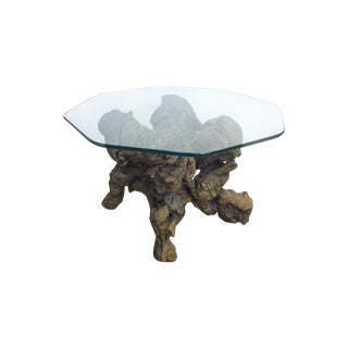 Vintage Wood Driftwoo Branch Glass Top Side Table
