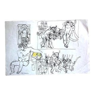 Vintage Folk Art Sketches Signed Pemberton For Sale