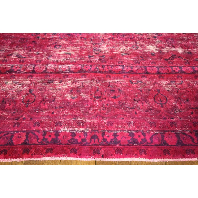 """Pink Overdyed Floral Area Rug - 9'7"""" x 12'2"""" - Image 5 of 10"""