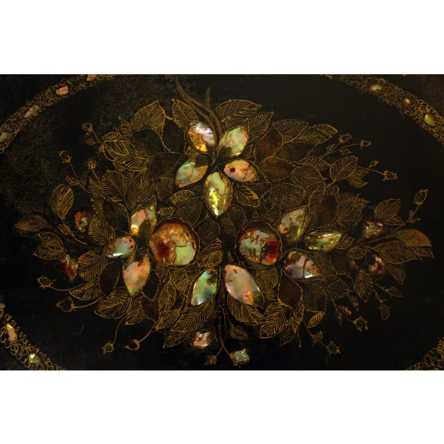 Mid 19th Century 19th Century English Oval Tray on Custom Stand For Sale - Image 5 of 8