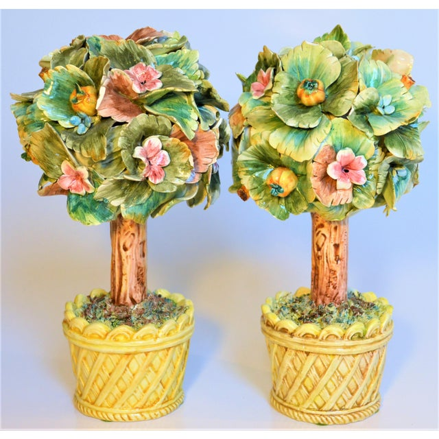 Ceramic Vintage Italian Majolica Topiary Trees - A Pair For Sale - Image 7 of 7