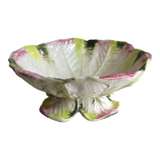Majolica Cabbage Bowl - 2 Piece For Sale