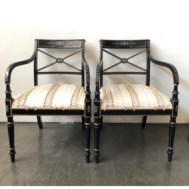 Regency Style Black and Gold Painted Arm Chairs - a Pair For Sale - Image 13 of 13