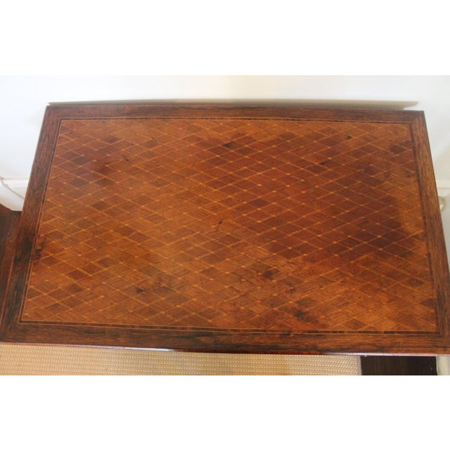 Brown French Transitional Parquetry Inlaid Writing Desk For Sale - Image 8 of 13