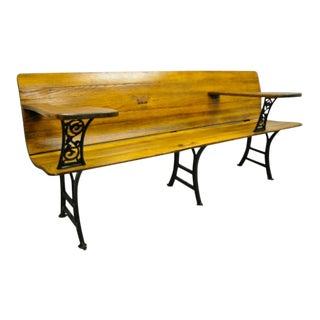 Antique Cast Iron and Oak Wood Victorian School Work Bench Desk For Sale