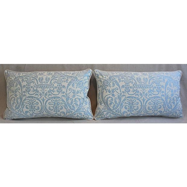"26"" X 16"" Custom Tailored Italian Fortuny Uccelli Feather/Down Pillows - a Pair For Sale - Image 9 of 11"