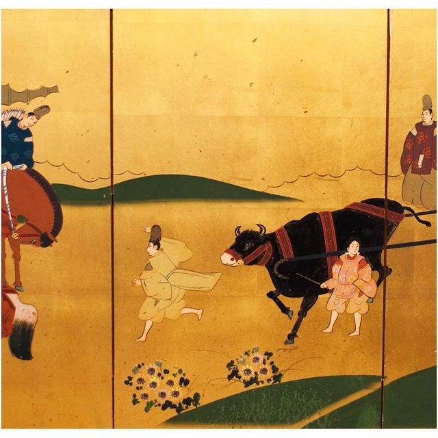 "Shōwa Era ""The Tale of Genji"" Gold-Leaf Japanese Byobu Screen For Sale In Dallas - Image 6 of 13"