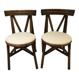Vintage Vogue Rattan Mtg. Co. Dining Chairs - a Pair For Sale