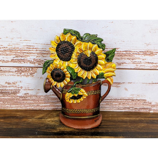 Metal 1880 Antique Victorian Cast Iron Flower Pot Doorstop With Sunflowers For Sale - Image 7 of 7