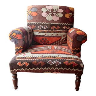 Modern Kilim Upholstery Armchair For Sale